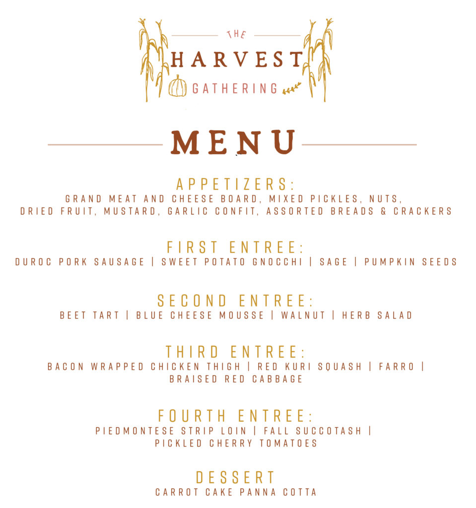The Harvest Gathering Menu